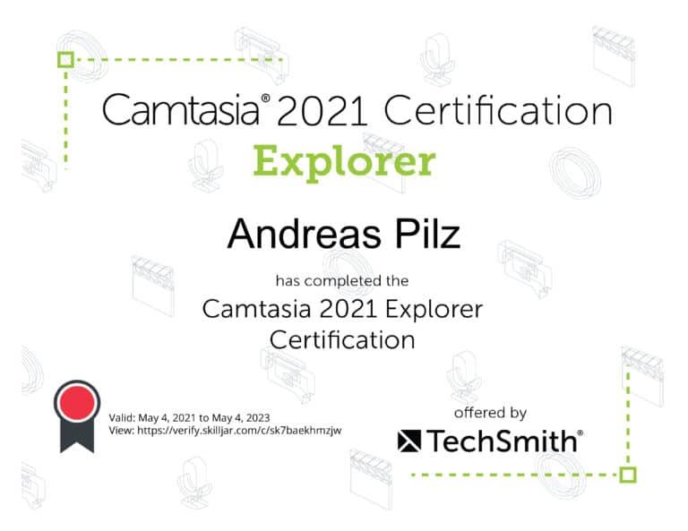 Camtasis 2021 Explorer Zertifikat