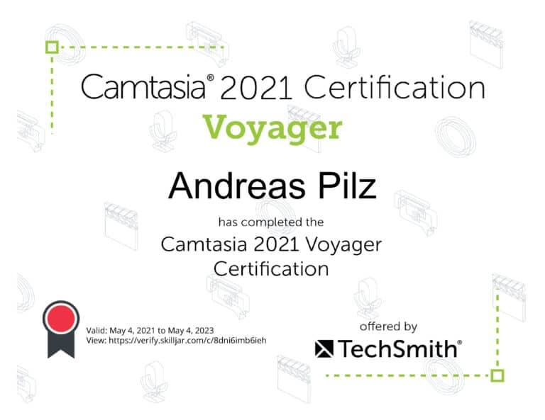 Camtasis 2021 Voyager Zertifikat